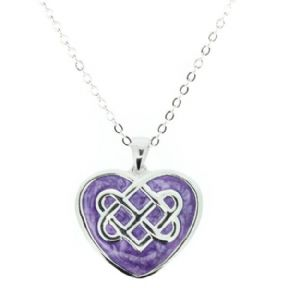 Celtic knot silver plated heart pendant with purple enamel 9888 aloadofball